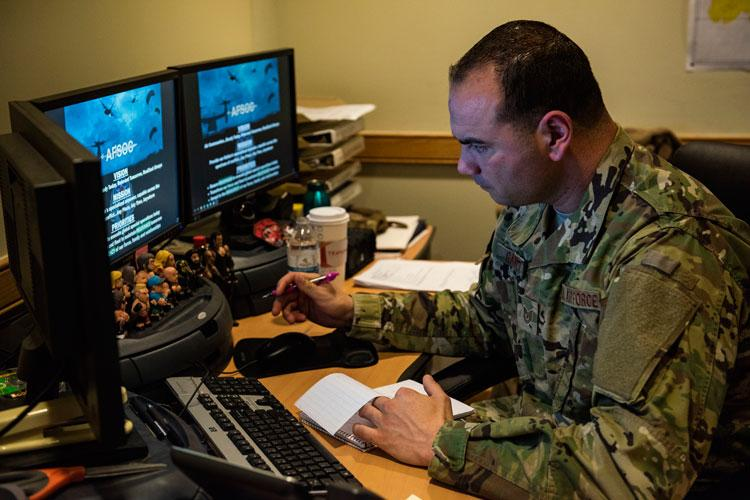 "U.S. Air Force Tech. Sgt. Gregory Gauntt, 8th Logistics Readiness Squadron non-commissioned officer in charge of fuels knowledge operations, writes down notes at Kunsan Air Base, Republic of Korea, Feb. 13, 2019. As NCOIC of knowledge ops in fuels, Gauntt manages programs that highlight Airmen in the flight such as ""Fueler of the Month."" (U.S. Air Force photo by Senior Airman Stefan Alvarez)"