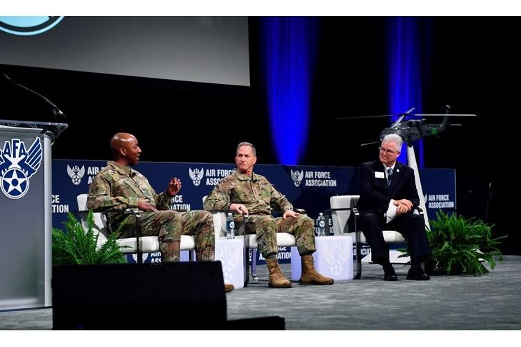 Air Force Chief of Staff Gen. David L. Goldfein and Chief Master Sergeant of the Air Force Kaleth O. Wright participate in a sit down discussion during the Air Force Association's Air Warfare Symposium, in Orlando, Fla., Feb. 27, 2020. The three-day event is a professional development forum that offers the opportunity for Department of Defense personnel to participate in forums, speeches, seminars and workshops with defense industry professionals. (U.S. Air Force photo by Wayne Clark)