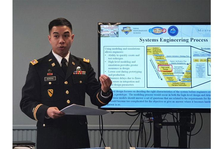 U.S. Army Capt. Rondolf Moreno, a plans officer with the 19th Expeditionary Sustainment Command, who majored in Systems Engineering for his Master's Degree at the Naval Postgraduate School in Monterey, Calif., presents his most-recent research in Systems Engineering at an International Conference sponsored by Innovations of Applied Energy March 14, 2019, at Oxford, England. (Courtesy Photo)
