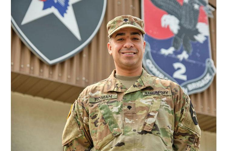Spc. Jonathan Roman Rios, of the 2nd Combat Aviation Brigade, 2nd Infantry Division, poses at Camp Humphreys, South Korea, Monday, March 25, 2019. (MATT KEELER/STARS AND STRIPES)