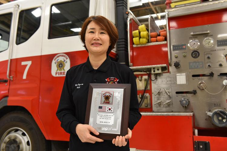 Although firefighters and military police often get acknowledged for their service on the emergency site, Kim, who plays a vital role behind the scenes, is being recognized as the Army's 2018 Fire and Emergency Services Dispatcher of the Year. (Photo Credit: Sameria Zavala, USAG Humphreys PAO)