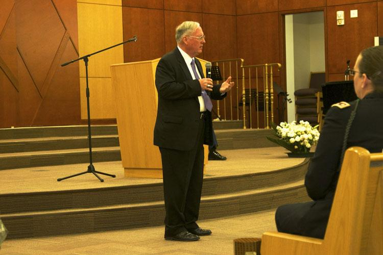 Col. (Ret.) William Michael Alexander, 2nd Infantry Division/ROK-U.S. Combined Division Museum director and command historian gives closing remarks to his presentation during the Days of Remembrance Observance May 2, 2019, Freedom Chapel, Camp Humphreys, Republic of Korea. The annual Days of Remembrance, established by the U.S. Congress, begins on the Sunday prior to Yom HaShoah, Holocaust Memorial Day. (Photo Credit: Sgt. Kayla Hocker)