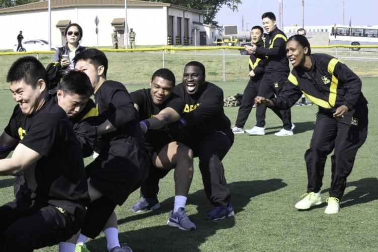 Korean Augmentation to the U.S. Army and U.S. Army Soldiers competed together in various activities, including tug-a-war, during the KATUSA-US Friendship Week, April 29-May 3. (U.S. Army photo by Pfc. Erikah Schaible)