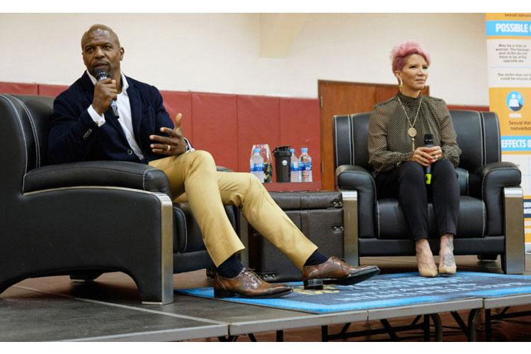 Terry Crews and Rebecca King-Crews share their stories as sexual-assault survivors with servicemembers and families at Collier Community Fitness Center on Camp Humphreys, South Korea, May 30, 2019. (MATTHEW KEELER/STARS AND STRIPES)