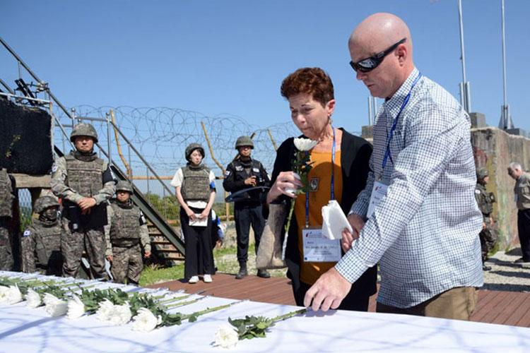 Dorothy Antonelli and Edward McCormick are the niece and grandnephew of Army Sgt. Peter Albert Patete, who was killed in the Korean War in 1950. They joined other relatives of American servicemembers whose remains have yet to be recovered in a visit to the former battleground known as Arrowhead Hill, May 29, 2019. (KIM GAMEL/STARS AND STRIPES)