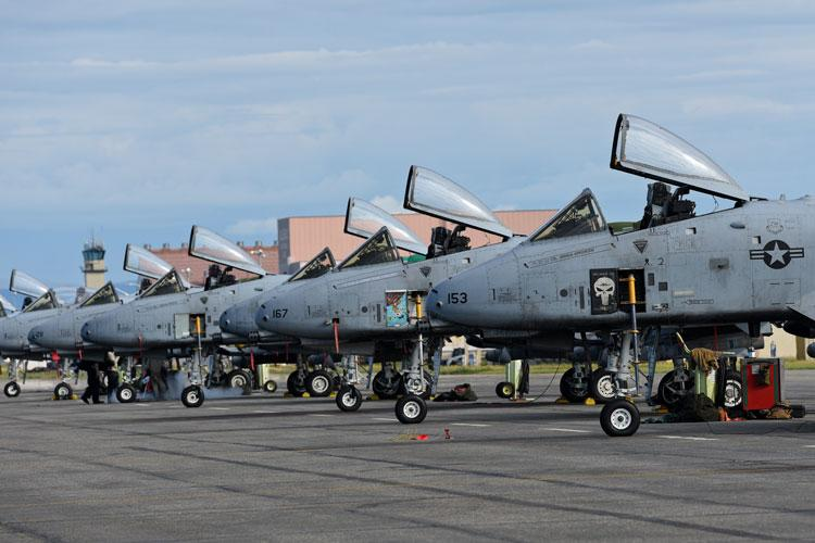 25th Fighter Squadron A-10 Thunderbolt II aircraft occupy the flightline during RED FLAG-Alaska 19-2 at Eielson Air Force Base, Alaska, June 10, 2019. RF-A is an annual U.S. Pacific Air Forces field training exercise for U.S. and international forces that enhances readiness of participating forces. The 25th FS is from Osan Air Base, Republic of Korea. (U.S. Air Force photo by Staff Sgt. Sergio A. Gamboa)