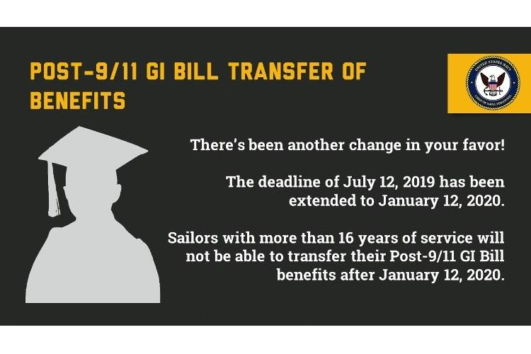 WASHINGTON (July 10, 2019) The deadline for Sailors who have over 16 years of service to transfer their Post-9/11 GI Bill education benefits to dependents has been extended to Jan. 12, 2020 based on recently revised guidance issued by the Department of Defense (DoD). (U.S. Navy graphic/Released)