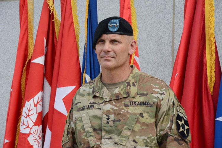 Maj. Gen. Steve Gilland, the new commander of the 2nd Infantry Division, speaks to reporters after his change-of-command ceremony at Camp Humphreys, South Korea, Wednesday, July 17, 2019. (KIM GAMEL/STARS AND STRIPES)