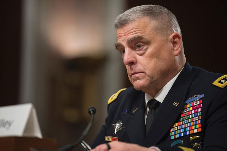 Army Chief of Staff Gen. Mark Milley testifies before the Senate Armed Services Committee as his nomination to become the next Chairman of the Joint Chiefs of Staff was considered on Thursday, July 11, 2019, on Capitol Hill in Washington. (CARLOS BONGIOANNI/STARS AND STRIPES)