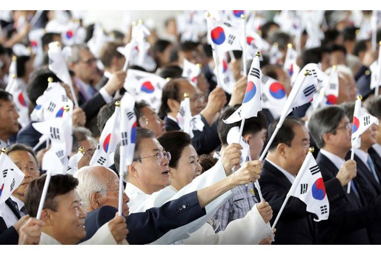 President Moon Jae-in of South Korea participates in a ceremony marking the 74th anniversary of the end of Japanese rule in Seoul, South Korea, Thursday, Aug. 15, 2019. (BLUE HOUSE)