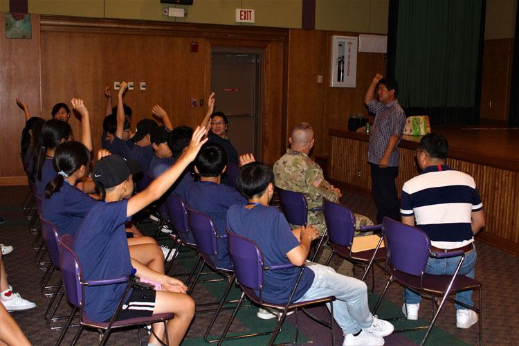 The Chilgok Office of Education's Chief of Education Support, Mr. Jeong, Cheol-hyeon gives closing remarks at the 15th Annual Summer English Camp. (Photo Credit: Kim, Soohan, USAG Daegu Public Affairs)