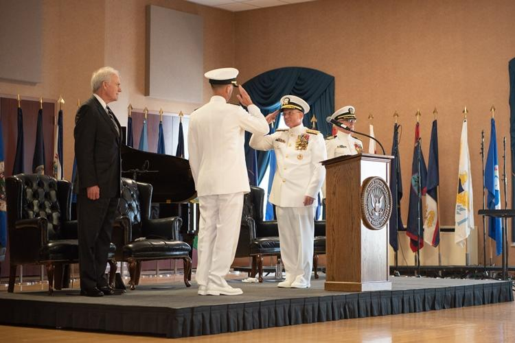 WASHINGTON (Aug. 22, 2019) Chief of Naval Operations (CNO) Adm. John Richardson is relieved by Adm. Mike Gilday at a change of office ceremony held at the Washington Navy Yard. Richardson served as the 31st Chief of Naval Operations from September 2015 to August 2019. (U.S. Navy photo by Mass Communication Specialist 1st Class Raymond D. Diaz III/Released)