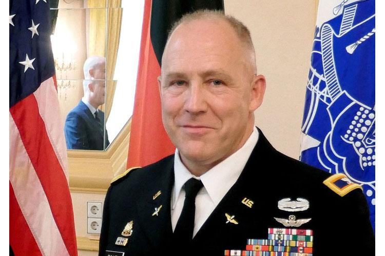Army Col. Richard Gulley during his retirement ceremony in Stuttgart in June 2017. Gulley is among several reservists who said the Army wrongly investigated them for legally receiving housing allowances while serving in Europe. A federal court has declined an Army motion to dismiss a lawsuit filed by the reservists. (RICHARD GULLEY)