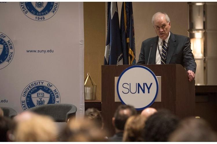 NEW YORK (Sept. 5, 2019) Secretary of the Navy (SECNAV) Richard V. Spencer delivers remarks during the joint Regional Discussion on Sexual Assault and Sexual Harassment at the State University of New York in New York City, Sept. 5, 2019. (U.S. Navy photo by Mass Communication Specialist 1st Class Sarah Villegas/Released)