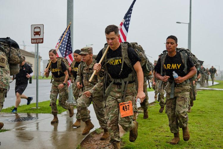 Soldiers from across South Korea participate in the 9/11 Memorial Ruck March at Camp Humphreys, South Korea, Wednesday, Sept. 11, 2019. (MATTHEW KEELER/STARS AND STRIPES)