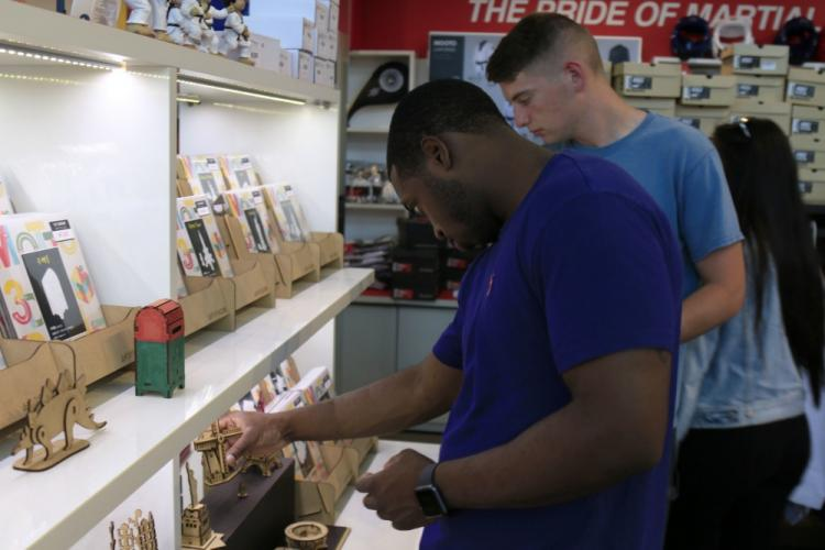 A U.S. Army Soldier looks through the souvenir shop during a Korean culture trip, June 13, 2019, Taekwondowon, Republic of Korea. The Ministry of National Defense hosts a Korean culture trip for U.S. service members once every month. (U.S. Army Photo by Pvt. Kaden D. Pitt, 20th Public Affairs Detachment)