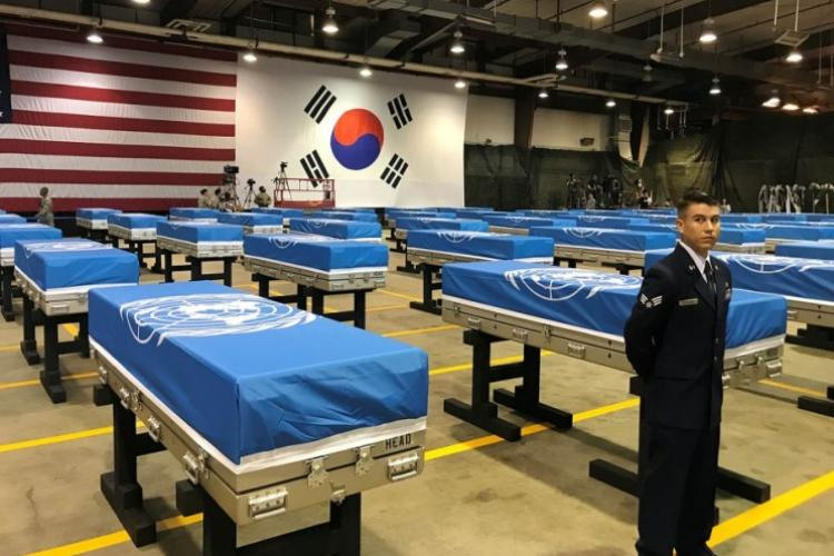 Remains recently handed over by North Korea are seen before a ceremony at Osan Air Base, South Korea, Wednesday, Aug. 1, 2018. (KIM GAMEL/STARS AND STRIPES)