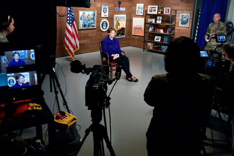 Secretary of the Air Force Barbara M. Barrett conducts her first Air Force TV interview with Airmen at the Pentagon, Arlington, Va., Oct. 24, 2019. (U.S. Air Force photo by Wayne Clark)