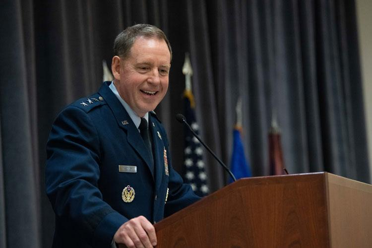Lt. Gen. James B. Hecker, Air University commander and president, addresses a crowd during an assumption of command ceremony Nov. 22, 2019, at Maxwell Air Force Base, Ala. As the new AU commander and president, Hecker will be responsible for leading the intellectual and leadership center of the U.S. Air Force, graduating more than 50,000 resident and 120,000 non-resident officers, enlisted and civilian personnel each year. (U.S. Air Force photo by Melanie Rodgers Cox)