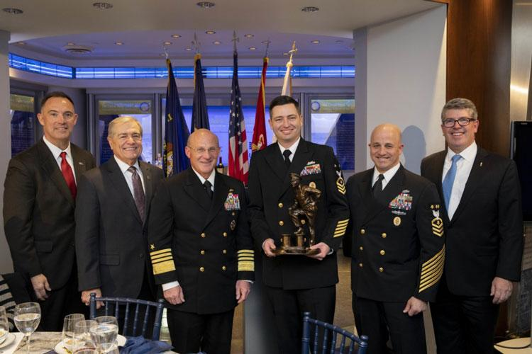 WASHINGTON (Nov. 20, 2019) - (From left) Retired Sgt. Maj. Lynn Kimble, retired MCPON Jim Herdt, Chief of Naval Operations (CNO) Adm. Mike Gilday, Command Master Chief Matt Lashley, Master Chief Petty Officer of the Navy (MCPON) Russ Smith, and retired Rear Adm. Frank Thorp pose for a photo at the inaugural Delbert D. Black Leadership Award Ceremony Dinner at the U.S. Navy Memorial. (U.S. Navy photo by Chief Mass Communication Specialist Nick Brown/Released)