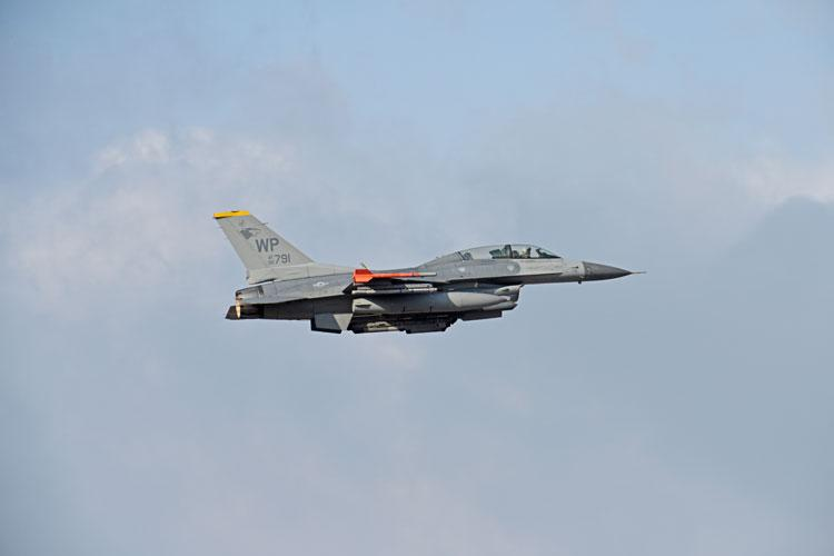 """A U.S. Air Force F-16 Fighting Falcon assigned to the 80th Fighter Squadron takes off for routine flying at Kunsan Air Base, Republic of Korea, Nov. 19, 2019. The 80th FS """"Juvats"""" perform air and space control roles including counter air, strategic attack, interdiction and close-air support missions. (U.S. Air Force photo by Staff Sgt. Mackenzie Mendez)"""