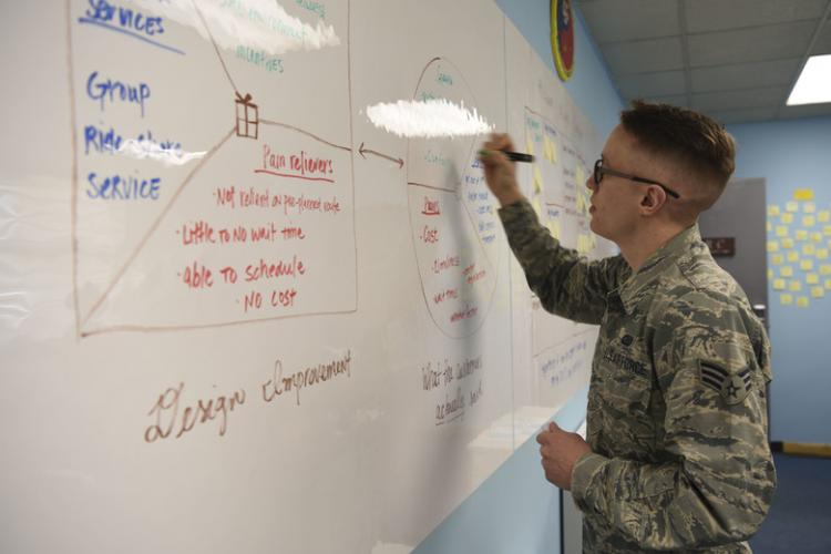 Senior Airman Andrew Democker, a Korean linguist assigned to the 303rd Intelligence Squadron, shares innovative ideas with his peers as part of the Skivvy Nine Internship Program at Osan Air Base, Republic of Korea. The program sends analysts to various offices throughout the 694th Intelligence, Surveillance, and Reconnaissance Group in order to increase an Airmen's cross-functional knowledge, expand mission capabilities, and cultivate problem-solving skills. (U.S. Air Force photo by Ilyana A. Escalona)