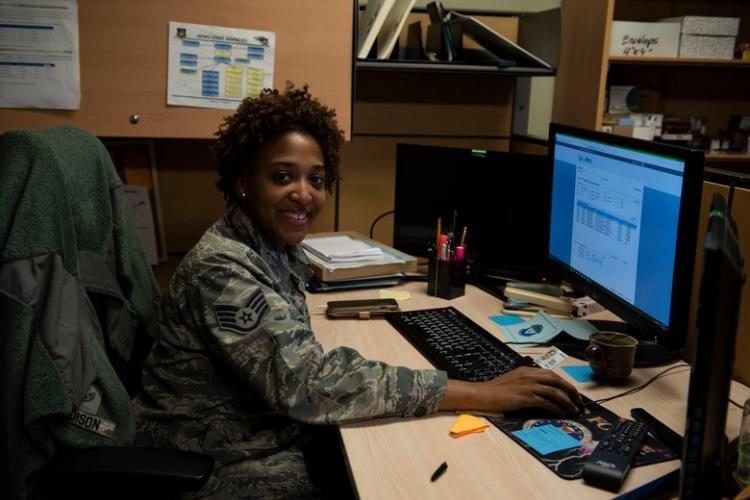 U.S. Air Force Staff Sgt. Jasmine Madison, 8th Comptroller Squadron command support staff, poses for a picture at Kunsan Air Base, Republic of Korea, Feb. 27, 2019. Madison was named the Brigadier General Wilma Vaught Visionary Leadership Award for her work on and off duty at Kunsan Air Base. (U.S. Air Force photo by Senior Airman Savannah Waters)