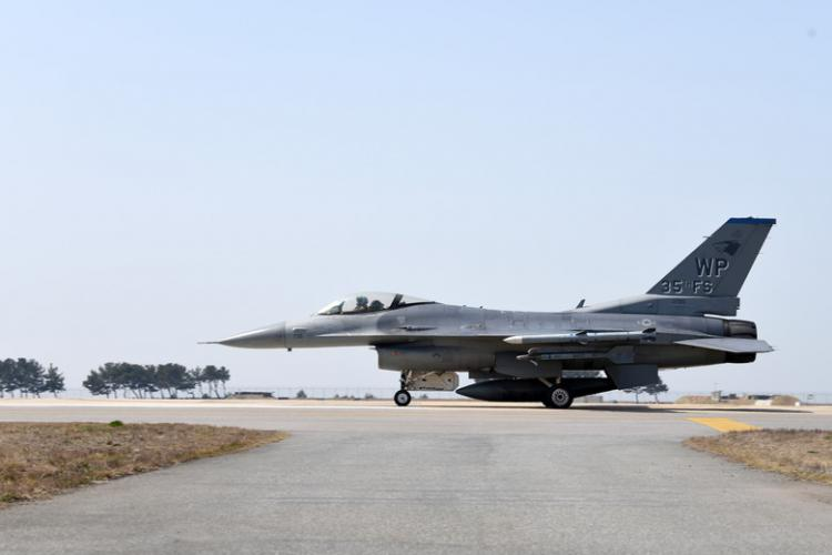 A 35th Fighter Squadron F-16 Fighting Falcon taxis during Buddy Squadron training event at Kunsan Air Base, Republic of Korea, March 28, 2019. Buddy Squadron, which is held multiple times a year, aims to enhance the abilities for U.S. and Republic of Korea Air Forces to integrate with each other. (U.S. Air Force photo by Senior Airman Savannah L. Waters)