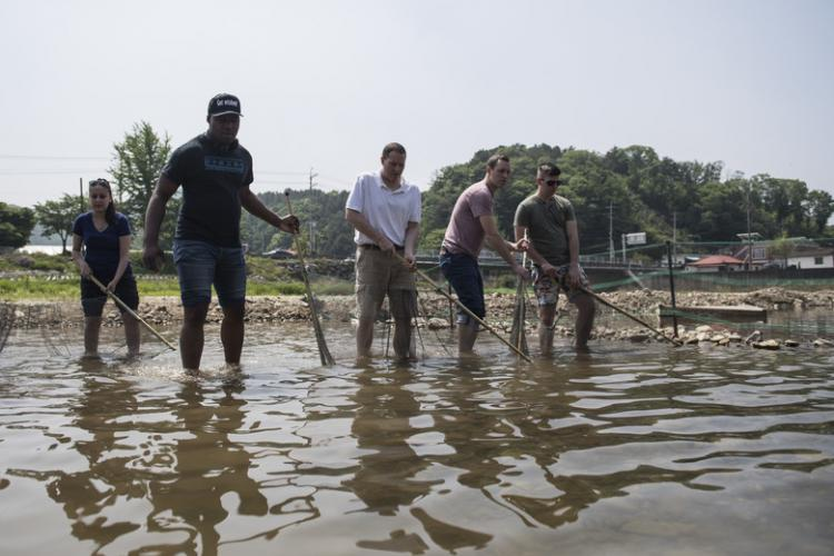 Members of U.S. Forces Korea attempt to catch trout during a Korean cultural program tour in Yang Pyeong, Republic of Korea, May 16, 2019. The Ministry of National Defense funds and offers this program to USFK members five times a year to increase cultural awareness and strengthen community ties with service members and local residents. (U.S. Air Force photo by Staff Sgt. Ramon A. Adelan)