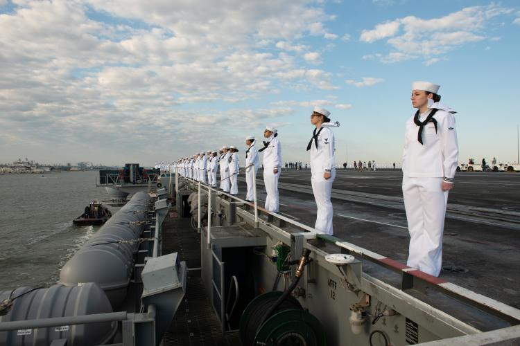 NORFOLK (May 16, 2019) - Sailors man the rails on the flight deck of the aircraft carrier USS John C. Stennis (CVN 74) while pulling into Norfolk, Virginia, May 16, 2019. John C. Stennis arrived in its new homeport at Naval Station Norfolk, Virginia, following a deployment to the U.S. 2nd, 3rd, 5th, 6th, and 7th Fleet areas of responsibility having left from Bremerton, Washington, in October 2018. (U.S. Navy photo by Mass Communication Specialist 3rd Class Skyler Okerman/Released)