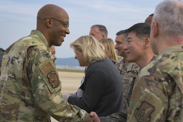 Gen. CQ Brown, Jr., Pacific Air Forces commander, visited the men and women of Osan Air Base, Republic of Korea, Oct. 17, 2019. While gaining an in-depth exposure of the installation's unique mission, Brown used the visit as an opportunity to explain Pacific Air Force's priorities and how vital Team Osan is in contributing to the Indo-Pacific region's security and stability. (U.S. Air Force photo by Staff Sgt. Greg Nash)