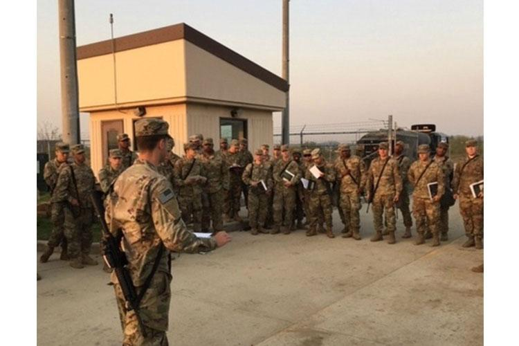 A leader briefs Soldiers on an upcoming mission during a Bravo Battery, 2-1 Air Defense Artillery Battalion field training exercise conducted November 27 to December 7, 2018, at Osan Air Base, South Korea. (Courtesy photo)