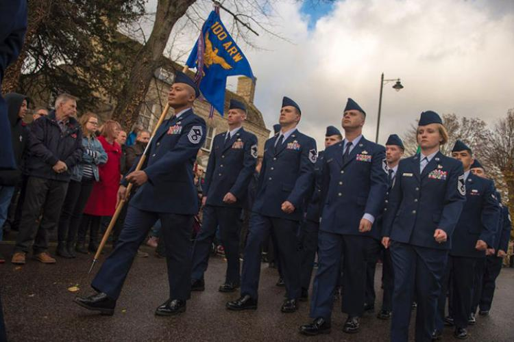 U.S. airmen from the 100th Air Refueling Wing march in formation during a Remembrance Day ceremony in Mildenhall, England, Nov. 11, 2018. The Air Force recently announced multiple enlisted evaluation system changes that will take effect this year.  CHRISTINE GROENING/U.S. AIR FORCE