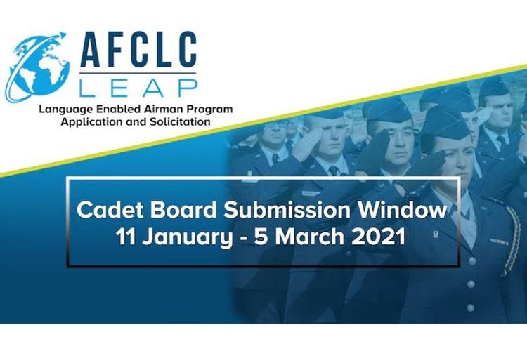 The Language Enabled Airman Program is now accepting cadet applications through March 5, 2021. LEAP is a career-spanning program aimed to sustain and improve Airmen's language and cultural capabilities. (U.S. Air Force courtesy graphic)