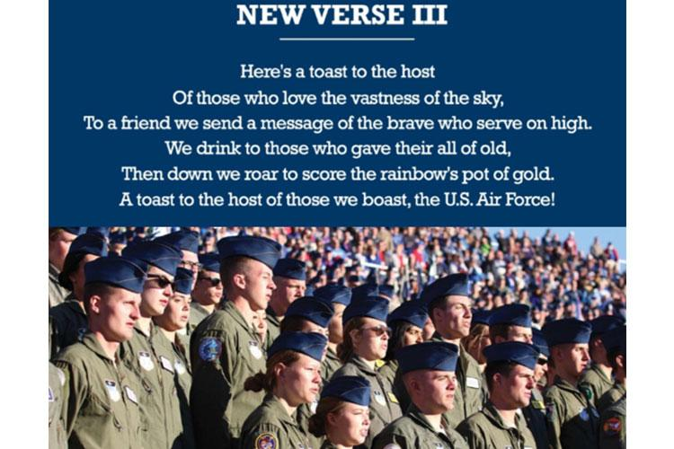 Air Force Chief of Staff Gen. David Goldfein shares his thoughts on changes made to the third verse of the U.S. Air Force song. (U.S. Air Force courtesy graphic)