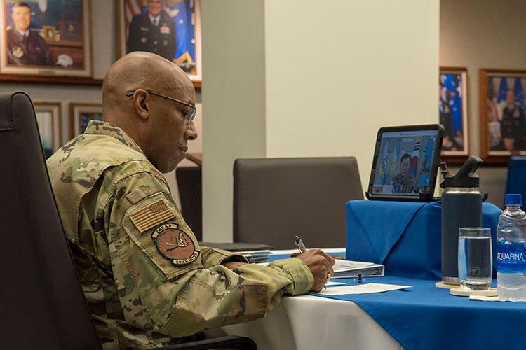 Gen. CQ Brown Jr., Pacific Air Forces commander, participates in a virtual teleconference call with air chiefs at the Headquarters PACAF building on Joint Base Pearl Harbor-Hickam, Hawaii, April 29, 2020. The teleconference was intended to increase cooperation with allies and partners in support of a free and open Indo-Pacific region. (U.S. Air Force photo by Staff Sgt. Mikaley Kline)