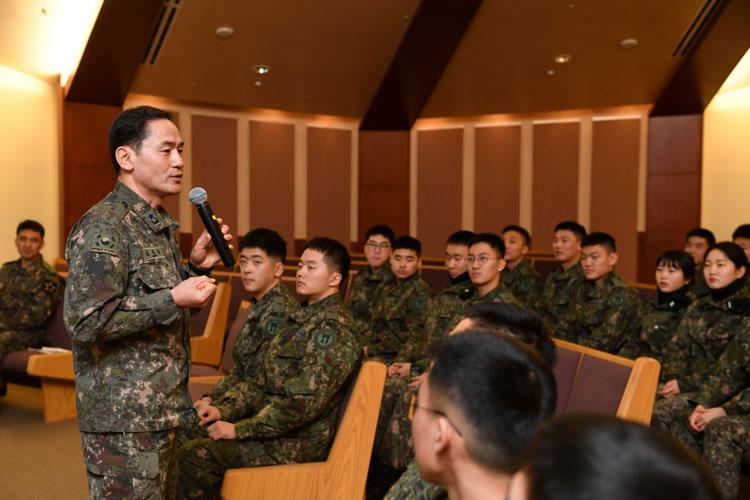 CAMP HUMPHREYS, Republic of Korea - Korea Military Academy cadets begin their winter internship with a welcome brief from Brig. Gen. Kim, Yong Chul, Gangwon-do native, deputy commanding general, Republic of Korea 2nd Infantry Division/ROK-U.S. Combined Division, at Pacific Victors Chapel, Feb. 12. (Photo Credit: Chin-U Pak)