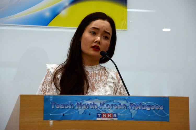 Yuna Jung, a North Korean refugee who fled to South Korea in 2006, participates in a speech contest organized by the nonprofit organization Teach North Korean Refugees in Seoul, South Korea, Feb. 23, 2019. KIM GAMEL/STARS AND STRIPES