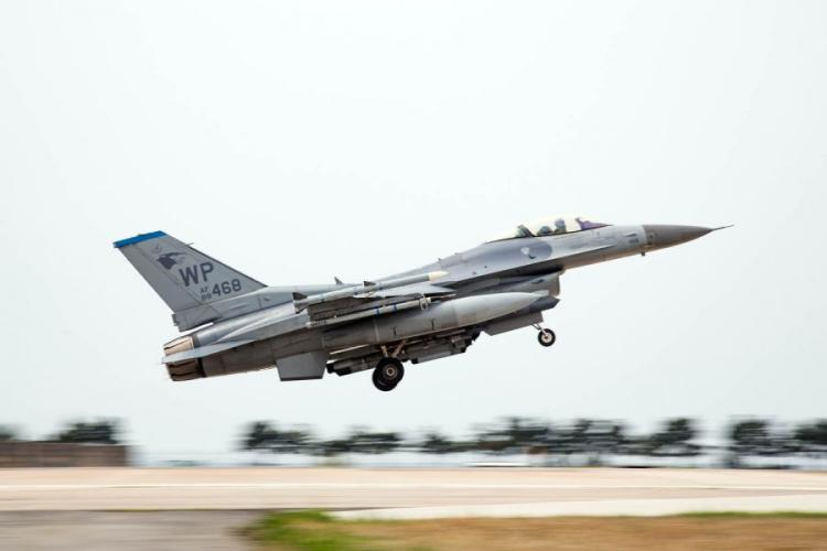 An Air Force F-16 takes off at Kunsan Air Base, South Korea, during Max Thunder 17, Tuesday, April 25, 2017. The U.S. and South Korea launched joint air force drills Monday, April 23, 2019, as an alternative to Max Thunder. MARCUS FICHTL/STARS AND STRIPES