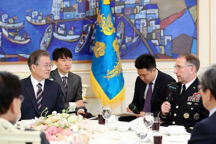 South Korean President Moon Jae-in meets with U.S. Forces Korea commander Gen. Robert Abrams and other military leaders at the presidential palace in Seoul, South Korea, Tuesday, May 21, 2019. COURTESY OF THE BLUE HOUSE