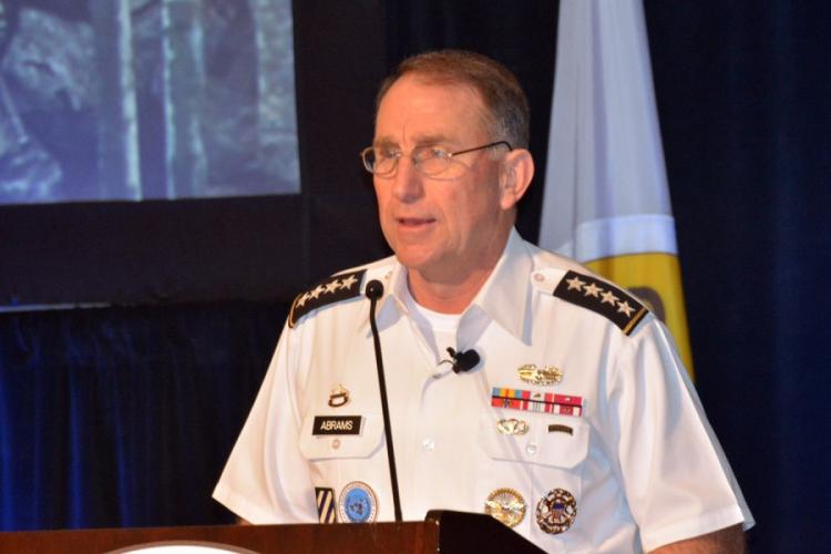 Gen. Robert Abrams, commander of U.S. Forces Korea, told a symposium audience in Honolulu, May 22, 2019, that the combined U.S.-South Korean military force has suffered no loss of readiness with the suspension of large-scale exercises last year. WYATT OLSON/STARS AND STRIPES