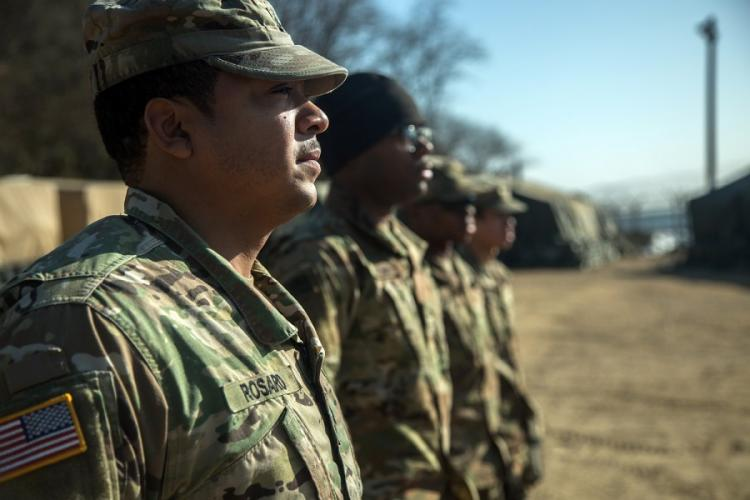 Soldiers assigned to Bravo Company, 304th Expeditionary Signal Battalion, 1st Signal Brigade stands at attention in South Korea, Jan. 30, 2018. ISAIH VEGA/U.S. ARMY