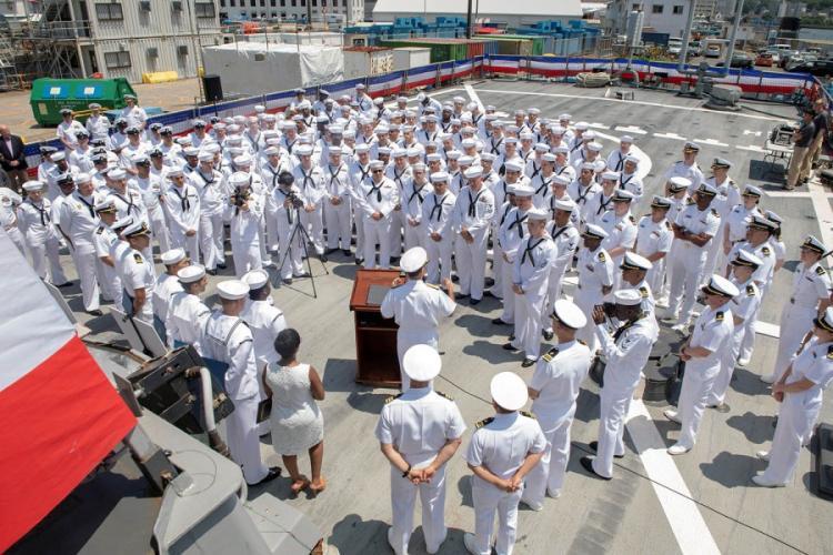 USS John S. McCain sailors listen to Adm. John Aquilino, U.S. Pacific Fleet commander, during an awards ceremony aboard the guided-missile destroyer at Yokosuka Naval Base, Japan, Wednesday, July 10, 2019.  WILLIAM MCCANN/U.S. NAVY