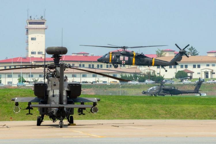Camp Humphreys in South Korea has a bustling airfield that includes helicopters from the 2nd Combat Aviation Brigade. SEAN KIMMONS/U.S. ARMY