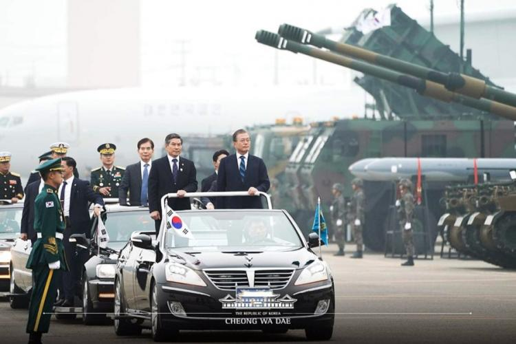 South Korean President Moon Jae-in reviews Patriot anti-missile batteries and other military hardware during Armed Forces Day in Daegu, southeast of Seoul, on Oct. 1, 2019. CHEONG WA DAE/STARS AND STRIPES