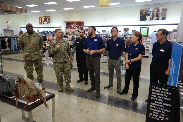 Col. Scott Maskery, AAFES Pacific Region commander and Sgt. Maj. Jermaine Thomas, former AAFES Pacific Region's senior enlisted advisor, received a main store operations briefing and thanked the Osan Exchange team for providing exceptional service to the Service Members and their families who are stationed in the Republic of Korea during their site-visit in October 2019. (U.S. Army Photo by Sgt. 1st Class Luke Graziani)