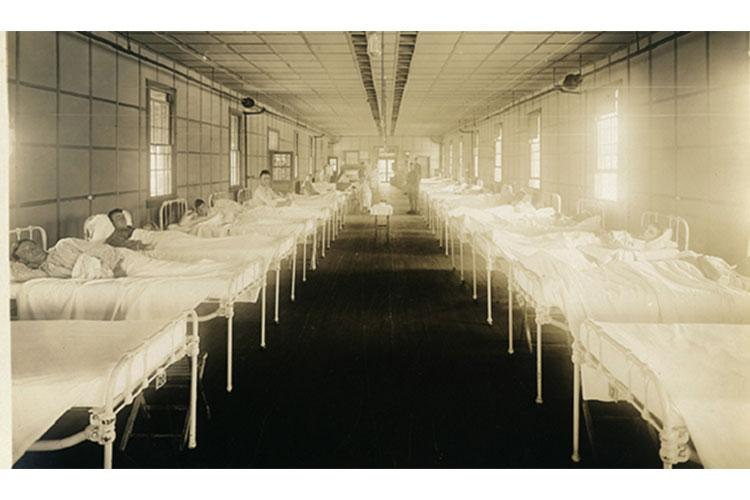 Interior of a hospital ward at the Base Hospital, Camp Jackson, South Carolina, during the influenza epidemic. September and October 1918. (NCP 11066-3)