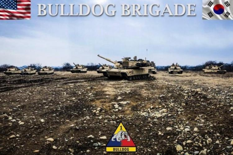 "The 3rd Armored Brigade Combat Team ""Bulldog,"" 1st Armored Division (Rotational Unit) has been deployed to the Republic of Korea since September 2018 as the sixth rotational brigade to support the 2nd Infantry Division/ROK-US Combined Division. Company A, 1st Battalion, 77th Armor Regiment is the featured unit in illustration. (Illustration courtesy of 3rd ABCT, 1st AD) (Photo Credit: Maj. Anthony Clas)"