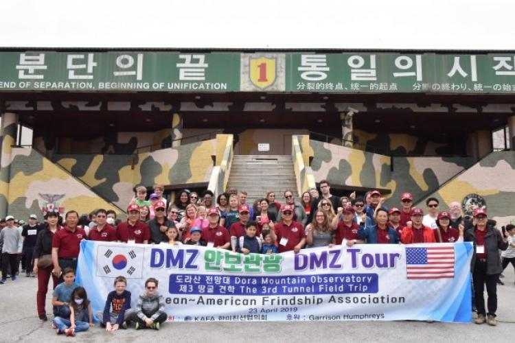 Sixty U.S. Army Garrison Humphreys Soldiers, civilians and Family members toured the Demilitarized Zone, to learn more about the history between North and South Korea, April 23. (Photo Credit: Kim WonHyong)