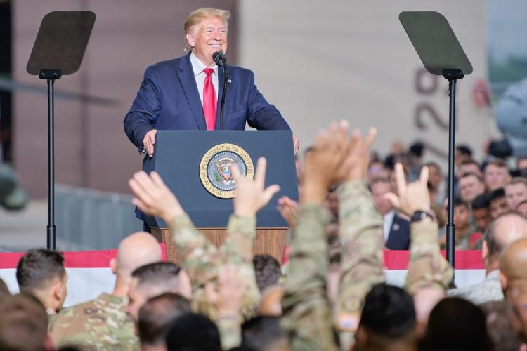 President Donald Trump speaks to servicemembers and families on Osan Air Base, South Korea, Sunday, June 30, 2019. MATTHEW KEELER/STARS AND STRIPES